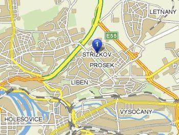 mapa - nádraží PRAHA - PROSEK